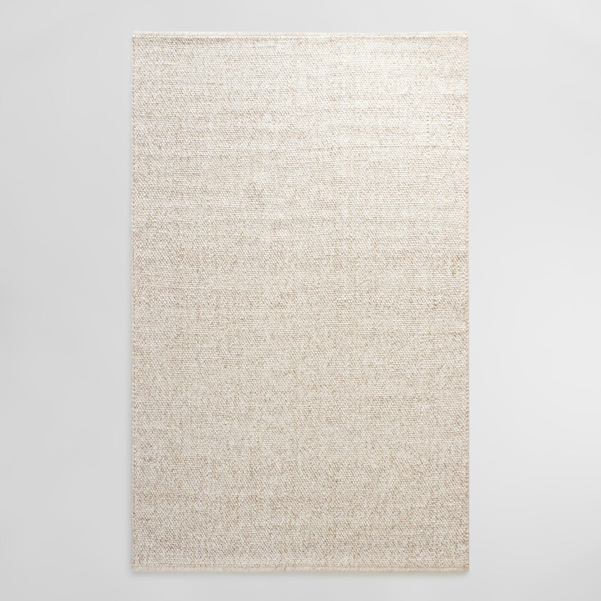 Ivory Tonal Sweater Wool Emilie Area Rug: White - 3' x 5' by World Market 3Ftx5Ft