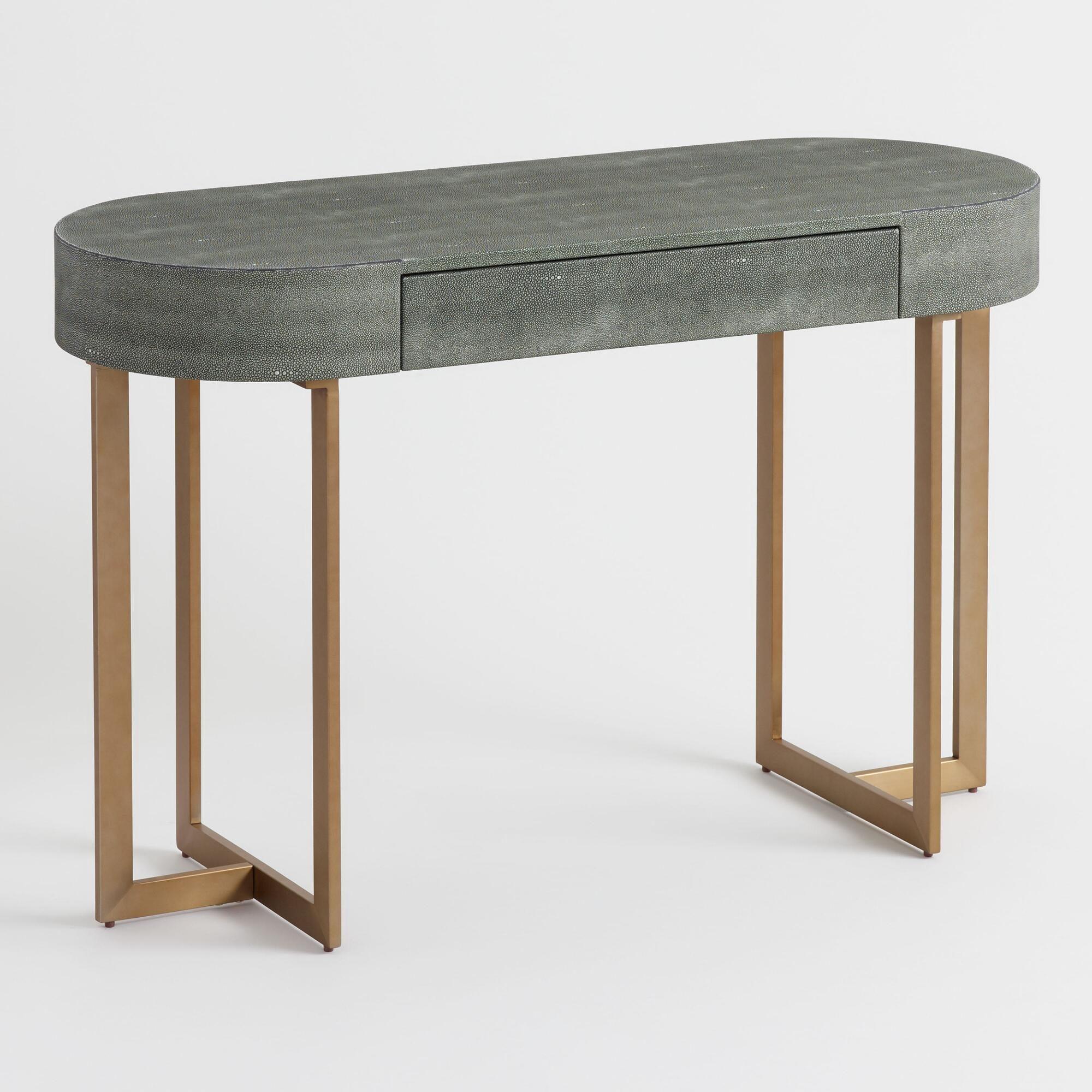 Oval Gray Faux Shagreen Katy Desk by World Market