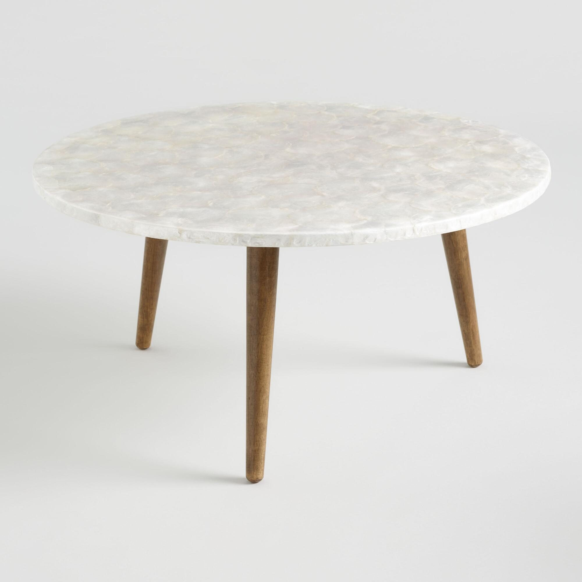 Round White Capiz Coffee Table - Natural Fiber by World Market