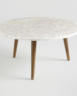 Round White Capiz Coffee Table - Natural Fiber by World Market