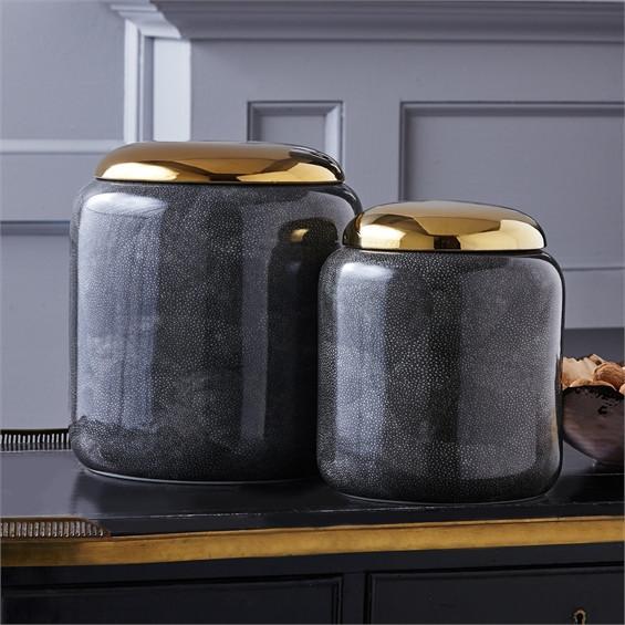 Set of 2 Grey Shagreen Jars design by Tozai