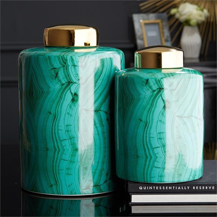 Set of 2 Tall Malachite Jars w/Gold Lids design by Tozai