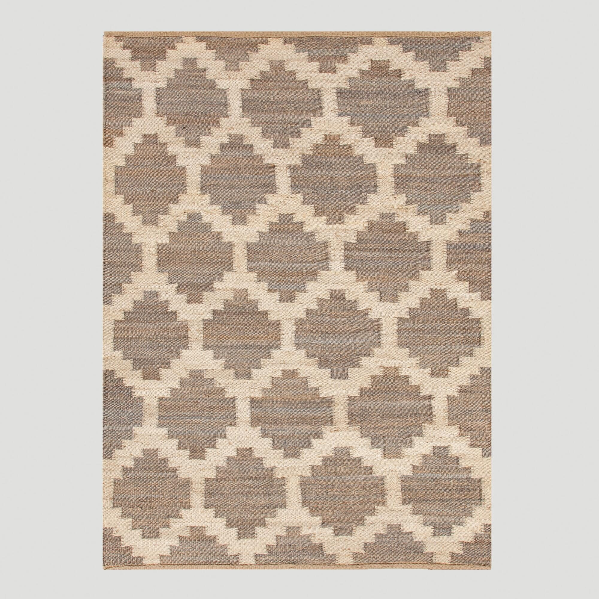 Taupe Jiya Flat-Woven Hemp Rug: Brown/Gray - 2' x 3' by World Market 2Ftx3Ft