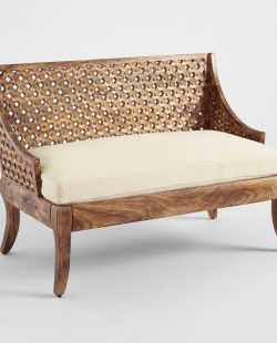 Tribal Carved Wood Love Seat: Brown/Natural - Fabric by World Market