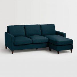 Azure Blue Textured Woven Abbott Sofa - Fabric by World Market
