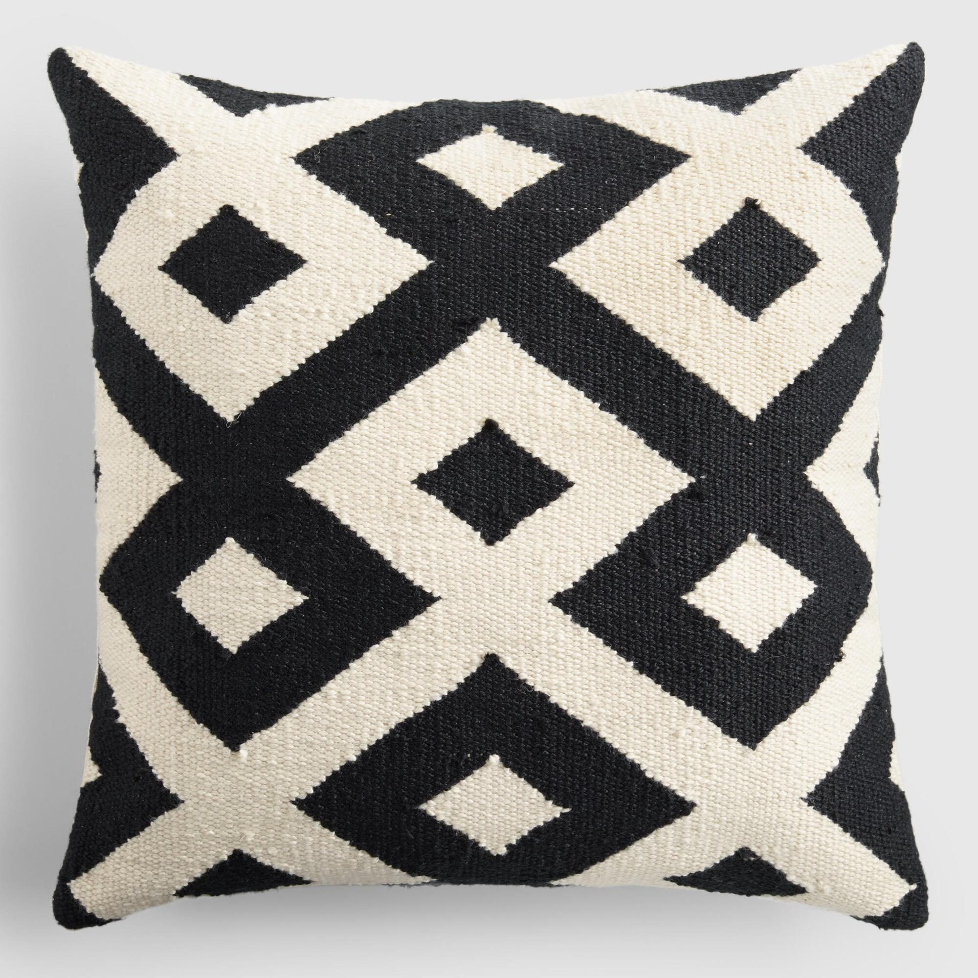 """Black and Ivory Geometric Indoor Outdoor Patio Throw Pillow - Polyester - 18"""" Square by World Market"""