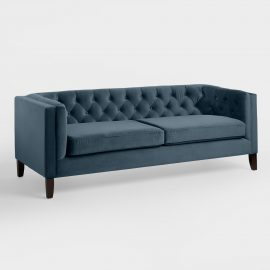 Midnight Blue Velvet Kendall Sofa - Fabric by World Market