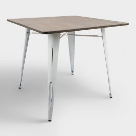Square White Metal and Espresso Wood Ridgeby Dining Table - Small by World Market